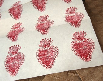 Red Sacred Heart Pattern Woodblock Printed Lokta Paper Sheet 20x30 inches