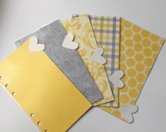 Yellow and Gray Dividers with White Shimmer Heart-Shaped Tabs