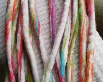 SET OF TEN Hand felted colourful wool dread extensions (Double ended)