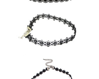 3 x Black Lace Gothic Choker Necklaces Tattoo Collar Necklace for Women