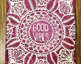 Good Vibes Mandala Canvas Quote Painting