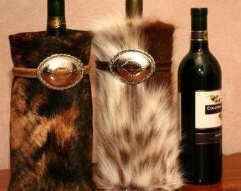 Cowhide Wine Bag