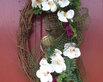 Wreath White Orchids, Magenta Stem