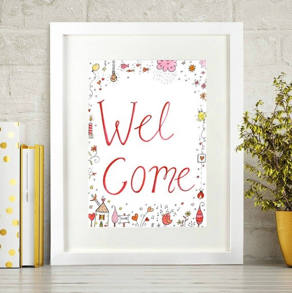 Printable Welcome Home Sign: Welcome Sign Welcome Print Printable Art Welcome Printable