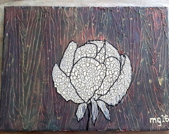 Acrylic painting canvas 40 x 30 Peony intensive structures and colours