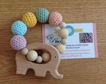 Handmade natural wood teething toy