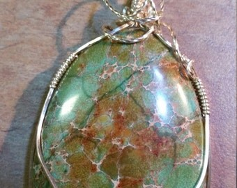 Wire wrapped Chrysocolla so e