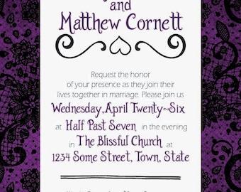 Purple & Lace Gothic Style Wedding Printable Invitation
