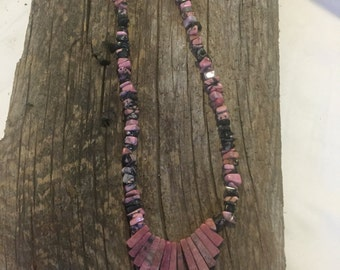 Pink and black hand beaded necklace
