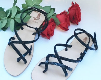Leather Gladiators Sandals    100% Handmade in Italy
