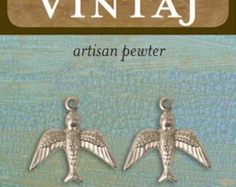 Vintaj Pewter Upward Bird, 17 x 17mm