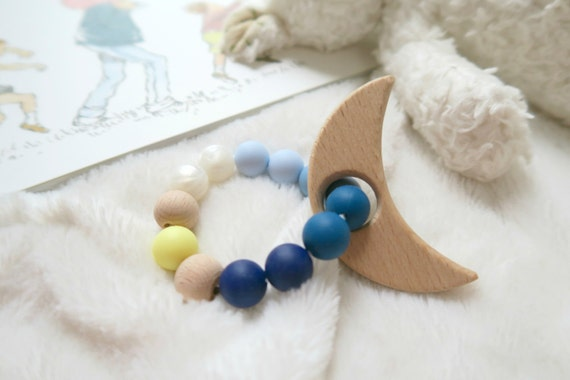 Goodnight Moon teething ring - newborn gift - silicone teether - baby shower - new mom gift - wooden teether