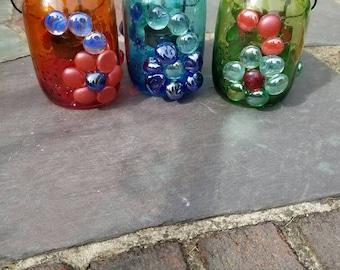 Set of 3 embellished tea light jars in blue, orange, and green