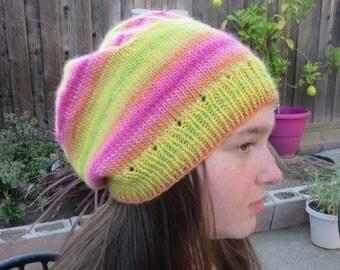 Handknit Slouchy Hat in Neon