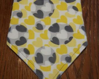 Yellow and Gray Hearts Bandanna Bib
