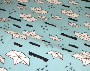 Cotton Jersey origami boats maritime blue fabric by the metre 0.50 metres