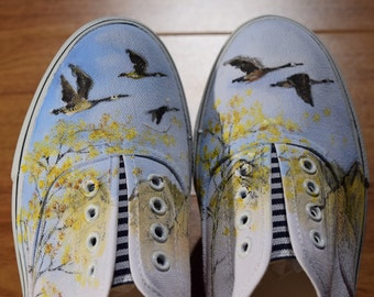 Shoes Hand-painted Geese  Wearable Art