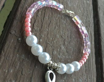 Handmade pink, Pearl, silver beaded breast cancer awareness charm bracelet