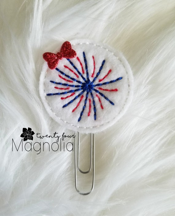 Firework Burst Felt Paperclip-Felt Planner Clip-Fourth of July-Planner Accessories-4th of July