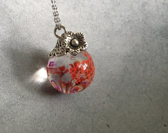 Orb Necklace: Red Queen Anne's Lace encased in Sphere Resin Pendant Necklace, Resin Jewelry, Sphere Necklace, Christmas