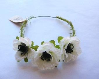 White Anemone Silk Flower Crown