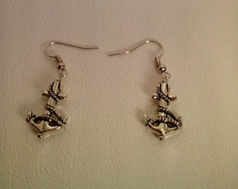 Anchor and Rope handcrafted pierced earrings
