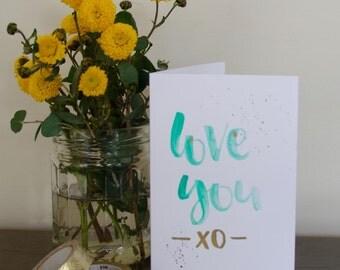 greeting card handmade watercolour - love you - anniversary thank you friendship