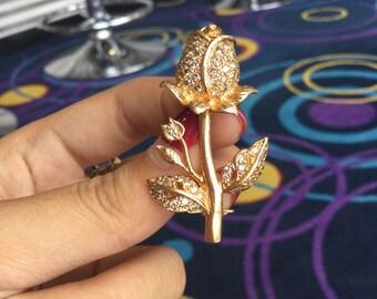 Diamond 14k gold brooch handmade