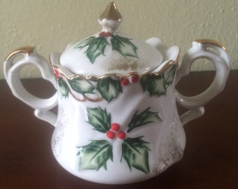 Vintage Lefton Holly Garland Hand-Painted Sugar Bowl