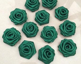 """Dark Green Satin Ribbon Rolled Rose, 1.5"""", Satin Rosette, Wholesale Flower , Floral Embellishment, fabric flower"""