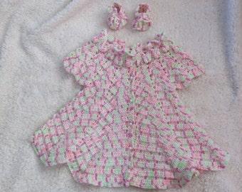 Handmade crochet baby girl dress and matching shoes - Newborn - 3 months, pink, green, white