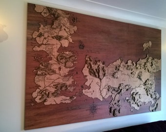 Game of Thrones Wood Map (laser engraved 3D 2x1.2m)