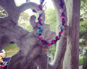 Pinks and Blues Sand in a Bottle Neclace