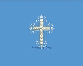 Christian Cross - Machine Embroidery design 4x4/5x7hoop -5 sizes, Cross Embroidery/Cross Embroidery Design/Religious Embroidery/Church Cross