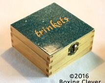 Glitter Trinket Box - Wood Engraved Letterings & Blue Glitter Gloss Finish - 4.7x4.7x2.3 Inches- Keepsake/Jewellery/Jewelry FREE DELIVERY UK