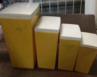 Retro kitchen canister set (4) bright yellow melamine storage Capri Australia Mid century - Flour / Rice/ Tea / Coffee