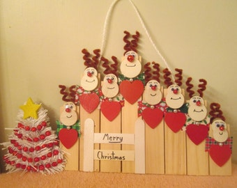 reindeer family of 8 Christmas wall decoration or ornament for you to personalize