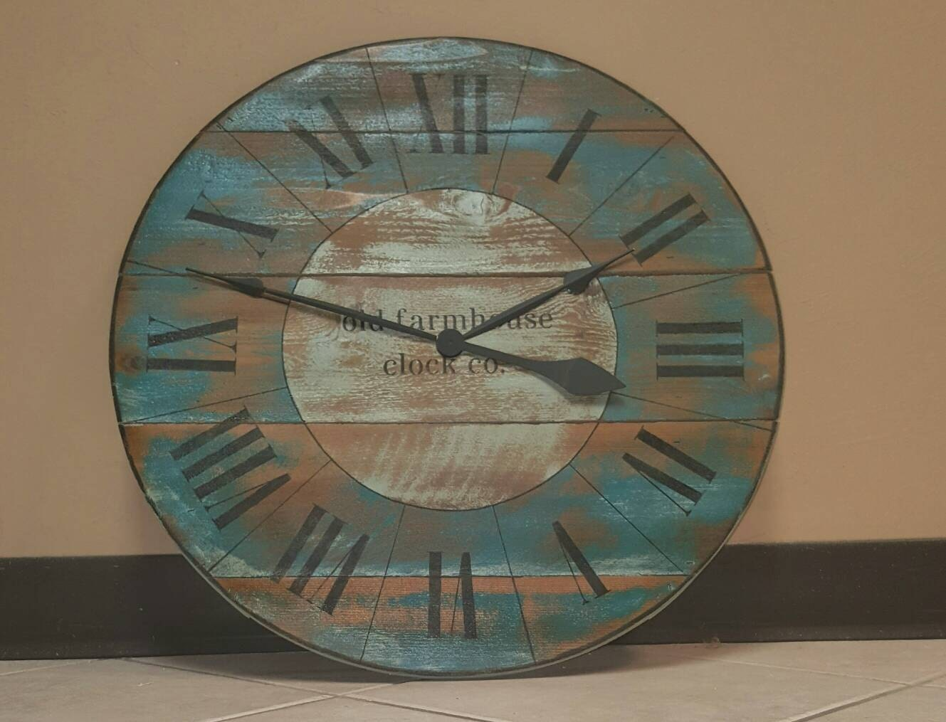 24in Farmhouse Wall Clock With Turquoise Distressed Finish And