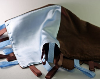 Blue and Brown Corduroy Tag Blanket