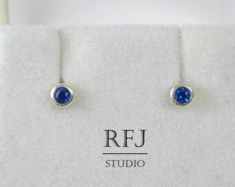 Blue Silver Lab Sapphire Studs, Blue Corund 2 mm Mini Solid Sterling Earrings, Small Blue Stud Earrings, Studs, Tiny, Little Earrings