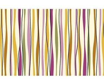 """Geometric Fabric:So Chic CREAM and MAGENTA STRIPE Fabric by Wavely  100% cotton Fabric by the yard 36""""x44""""  (C292)"""