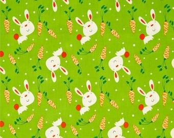 "Cartoon Fabric, Rabbit Fabric: Garden Bunny & Carrots Grass by David Walker 100% cotton Fabric by the yard 36""x44"" (K94)"