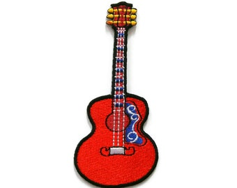 Classic Guitar Musical Instrument Embroidered Applique Iron on Patch 4.3 cm. x 9.6 cm.