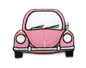 Cute Pink Car Cartoon Embroidered Applique Iron on Patch 7 cm. x 5.5 cm.