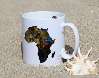 Africa Mug - Map Mug - Art Mug - White Ceramic Mug - Colorful Printed Mug - Tee Mug - Coffee Mug - Gift