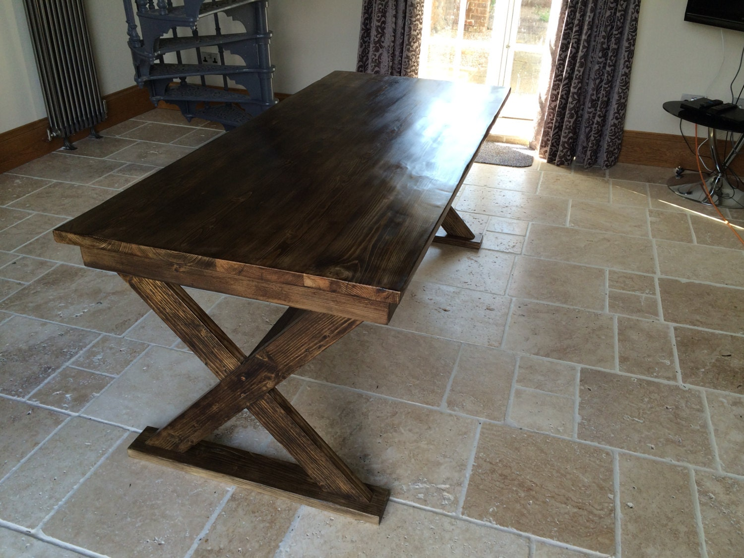 large reclaimed scaffold dining table rustic farmhouse table