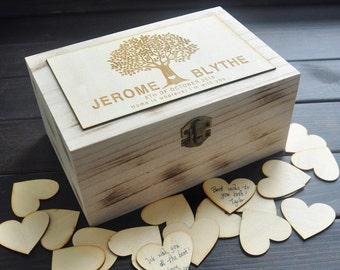 Personalised Rustic Wood Wedding Guest Book Alternative Engraved