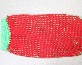 Red and Green hand made dog sweater