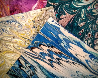 """Origami 12 sheet set of 5""""x5"""" - Hand Marbled"""