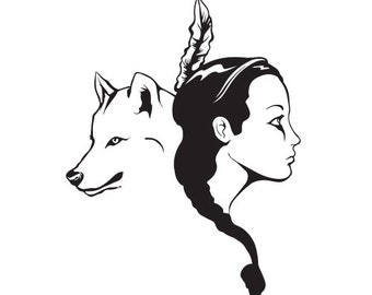 Indian girl and wolf vinyl decal sticker